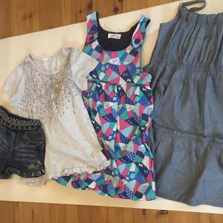 ジーユー(GU)の120 女の子セット gu バースディ デニム ショートパンツ  ワンピース(Tシャツ/カットソー)