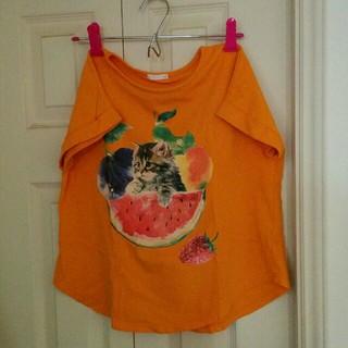 ジーユー(GU)のネコ柄Tシャツ 140(Tシャツ/カットソー)