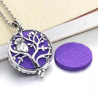 アロマペンダント アロマディフューザー 香水 ロケットネックレス フクロウ 紫色(ネックレス)