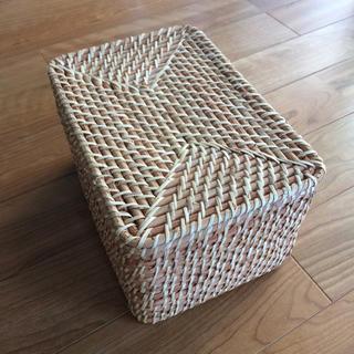 ムジルシリョウヒン(MUJI (無印良品))の【未使用】無印良品 重なるラタン長方形ボックス・フタ付 26×18×16cm(バスケット/かご)