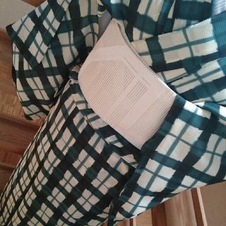 【cherie様専用】水彩の様な変わり格子 駒絽小紋 夏物 単衣(着物)