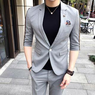 半袖 夏物 メンズスーツ 2点セット ビジネス 結婚式 入園式(スーツジャケット)