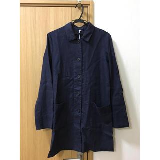 MUJI (無印良品) - 無印良品 リネンロングコート 紺 L