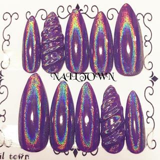 紫ユニコーンネイル  シャープポイント ネイルチップ