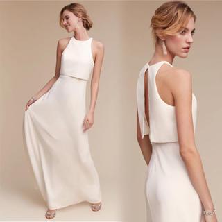 高級サテン上品なカラードレス シンプルなウエディングドレス(ウェディングドレス)