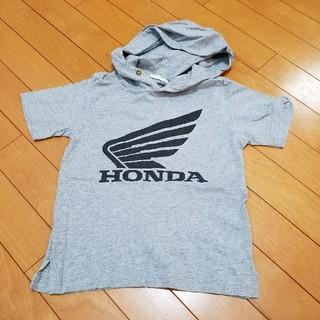 ジーユー(GU)のGU×ホンダ キッズ フードTシャツ グレー 120(Tシャツ/カットソー)