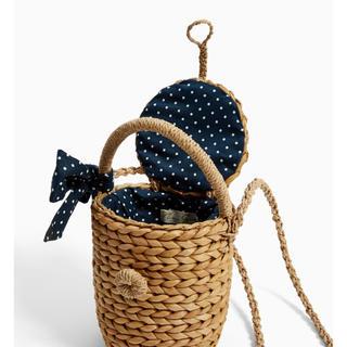 ザラキッズ(ZARA KIDS)の新品 ザラ ドット ラフィア バスケット バッグ 籠 ショルダー リボン KBF(かごバッグ/ストローバッグ)