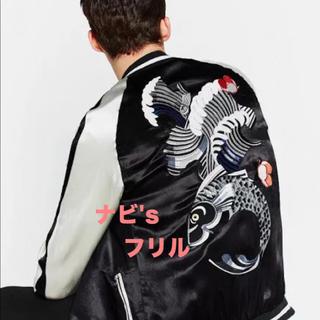 ザラ(ZARA)の完売 ZARA MAN スカジャン メンズ 黒 刺繍 ブルゾン ジャケット 花柄(スカジャン)