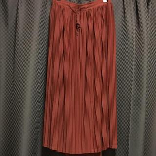 クレット(clette)の大きいサイズ 4L プリーツ ロングスカート テラコッタ(ロングスカート)