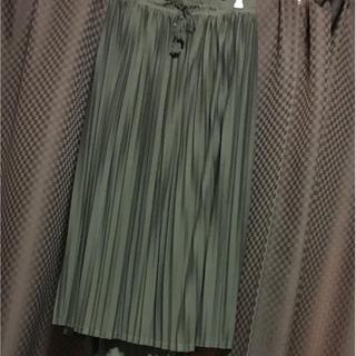 クレット(clette)の大きいサイズ 4L プリーツ ロングスカート カーキ(ロングスカート)