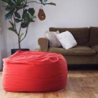 MUJI (無印良品) - 無印 ソファカバー ビーズクッション カバー 体にフィットするソファ レンガ 赤
