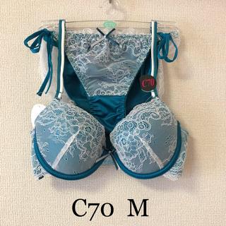 C 70☆ グリーンレース下着セット(ブラ&ショーツセット)