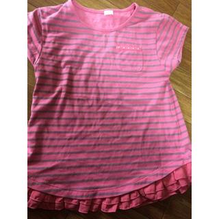 ジーユー(GU)のGU Tシャツ ストライプ フリル付き 130 女の子(Tシャツ/カットソー)