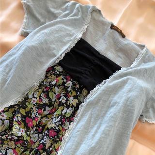 アフリカタロウ(AFRICATARO)の花柄ワンピース 半袖羽織り(ひざ丈ワンピース)
