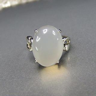 ミルキーホワイトオニキス指輪天然石一点物13.5号石街U0080石街(リング(指輪))