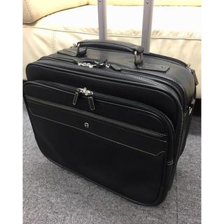 アイグナー(AIGNER)のAIGNER アイグナー オールレザー 二輪 2way キャリーバッグ ブラック(トラベルバッグ/スーツケース)