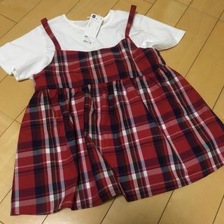 ジーユー(GU)のGU  ジーユー 150 マドラスチェック キャミ&半袖セット(Tシャツ/カットソー)