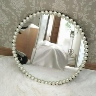 フランフラン(Francfranc)のフランフランパール付きオーバルミラー 鏡(ミラー)