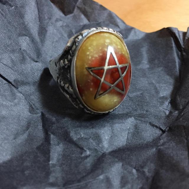 Angel Heart(エンジェルハート)のアレックスストリーターalex streeter限定SPストーン 琥珀×赤 メンズのアクセサリー(リング(指輪))の商品写真