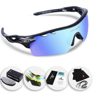 [ブラックアイスレンズ]スポーツサングラス 偏光レンズ 5枚交換レンズ付