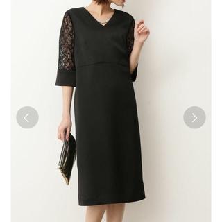 ヴィス(ViS)の袖レース vネック ブラック ドレス(ミディアムドレス)