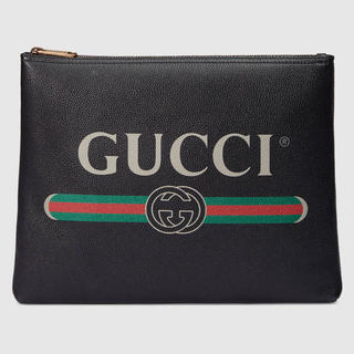 グッチ(Gucci)のGUCCI 18ss レザー クラッチバッグ グッチプリント(セカンドバッグ/クラッチバッグ)