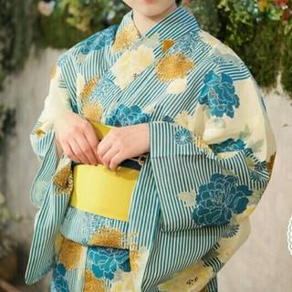 浴衣 レディース 単品 水色 ストライプ 縦縞 牡丹 花柄 青 白 大正レトロ(浴衣)