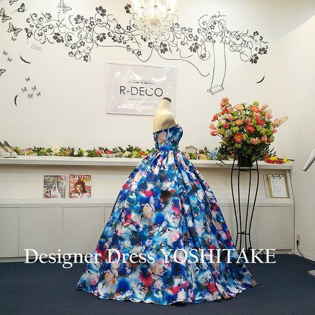 ウエディングドレス(パニエ無料) ブルー花柄 披露宴/二次会 レディースのフォーマル/ドレス(ウェディングドレス)の商品写真
