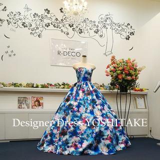 ウエディングドレス(パニエ無料) ブルー花柄 披露宴/二次会(ウェディングドレス)
