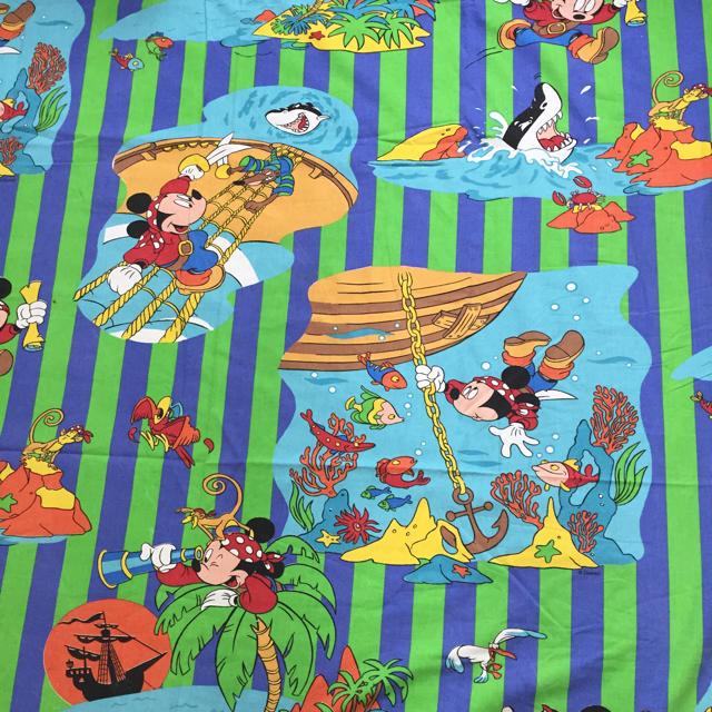Disney(ディズニー)の海賊ミッキー☆ビンテージシーツ  ハンドメイドの素材/材料(生地/糸)の商品写真