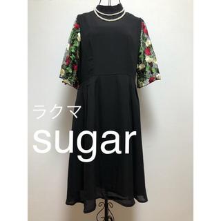 メルロー(merlot)のmerlot plus 花刺繍レース袖 ワンピース フォーマル ドレス(ミディアムドレス)