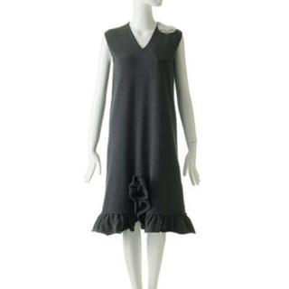 カオン(Kaon)のkaon パールリボン フリルニットドレス(ひざ丈ワンピース)