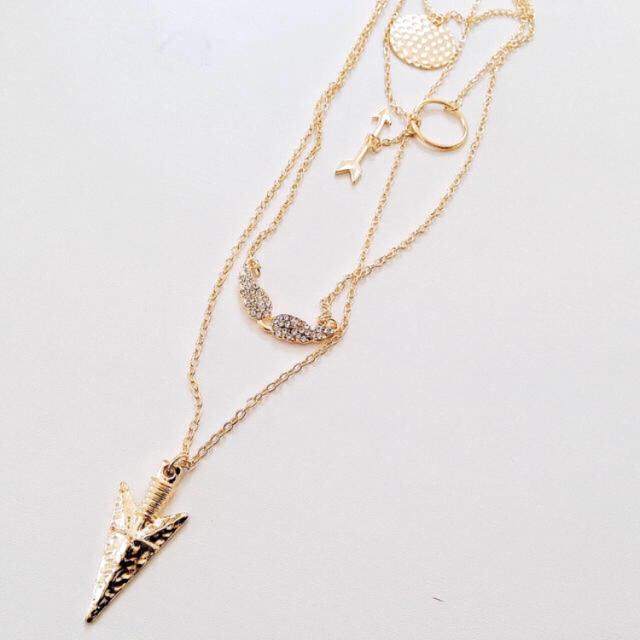 ラストno1229/4連ゴールドネックレス ハンドメイドのアクセサリー(ネックレス)の商品写真