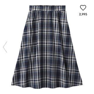 ジーユー(GU)の新品タグ付き♡チェックフレアミディスカートBGN(ひざ丈スカート)