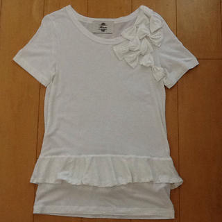 カオン(Kaon)の値下げ中❗️Kaon 🌟 ホワイト リボンTシャツ(Tシャツ(半袖/袖なし))