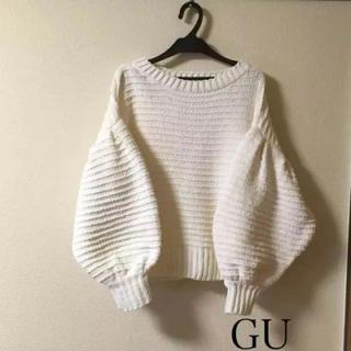 GU - 美品 L GU パフスリーブ ニット 大きいサイズ