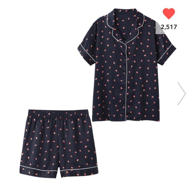 GU(ジーユー)の新品♡ パジャマ(半袖&ショートパンツ)(サテン・イチゴ) レディースのルームウェア/パジャマ(パジャマ)の商品写真