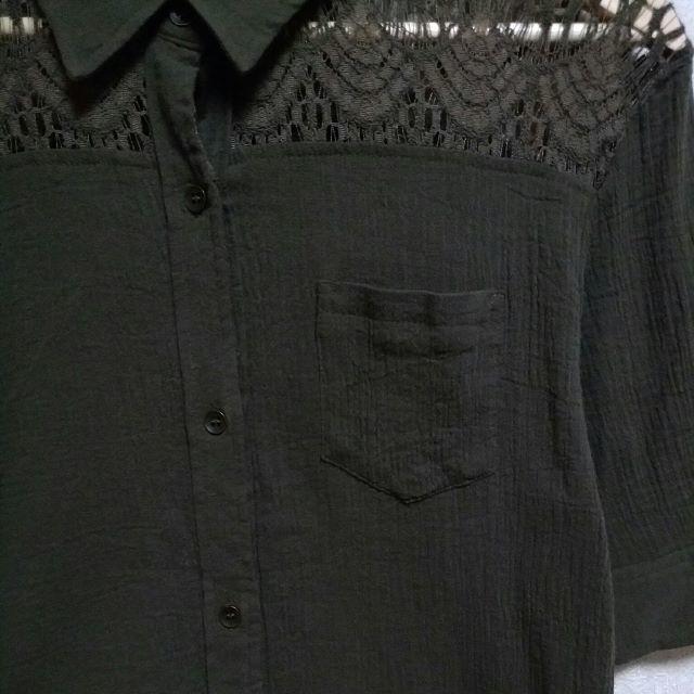 しまむら(シマムラ)のしまむら Sorridere 半袖シャツ カーキ レディースのトップス(シャツ/ブラウス(半袖/袖なし))の商品写真