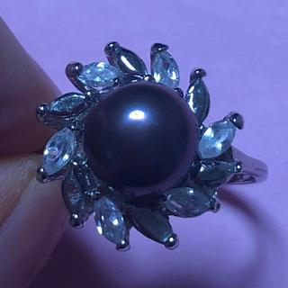 黒蝶真珠リング(ボタン型)(リング(指輪))