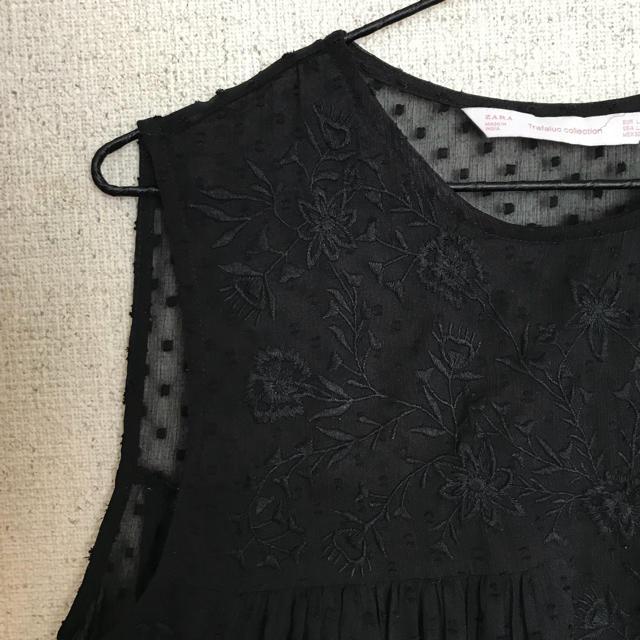ZARA(ザラ)のzara ザラ black タンクトップ ブラウス L シースルー レディースのトップス(シャツ/ブラウス(半袖/袖なし))の商品写真