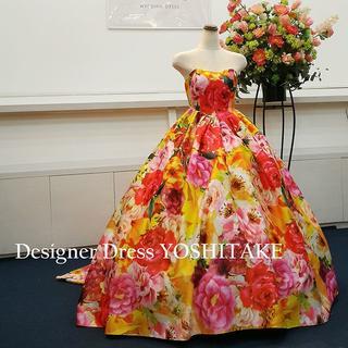 ウエディングドレス(パニエ無料) オレンジ花柄 二次会/披露宴(ウェディングドレス)