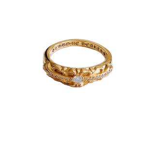 クロムハーツ(Chrome Hearts)のクロムハーツ 22kベイビークラシック リング フローラル パブェ ダイヤモンド(リング(指輪))