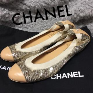 シャネル(CHANEL)の美品 シャネル 約25.5cm ココマーク バレエ フラット シューズ パンプス(バレエシューズ)
