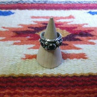 インディアン(Indian)のインディアンジュエリー ナバホ族 sterling silver オニキスリング(リング(指輪))