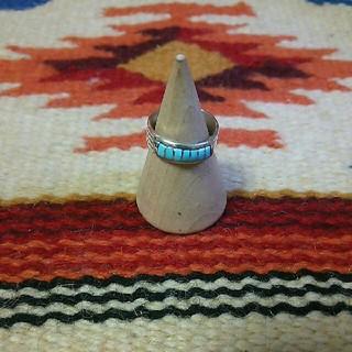 インディアン(Indian)のインディアンジュエリー ズニ族 インレイ ターコイズシルバーリング silver(リング(指輪))