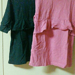 ジーユー(GU)の女の子 フリルT 2枚セット(Tシャツ/カットソー)