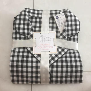 ジーユー(GU)のGU ジーユー 半袖&ショートパンツ パジャマ ギンガム ブラック M 新品(パジャマ)