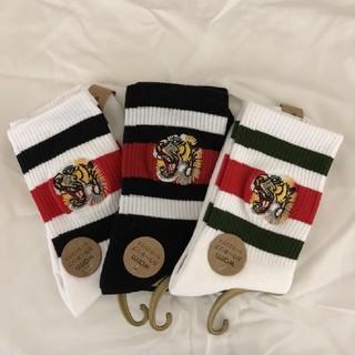 タイガー ラインソックス 刺繍 靴下  全3色 オシャレ靴下 パッチ ロゴ(ソックス)