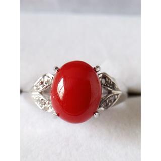 K18WG 赤珊瑚 ダイヤ0.05ctデザインリング 14号 指輪(リング(指輪))