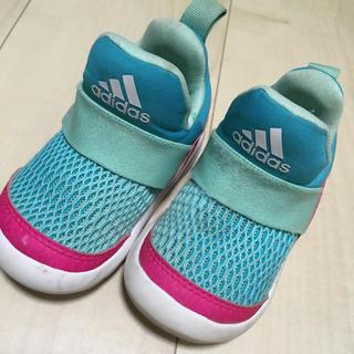 アディダス(adidas)のadidasアディダス babyスニーカーsize12ミントグリーンxピンク(スニーカー)